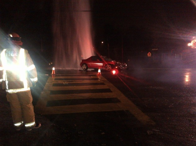Car accident, fire hydrant