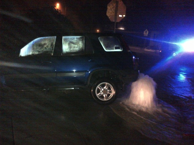 car accident, fire hydrant busted
